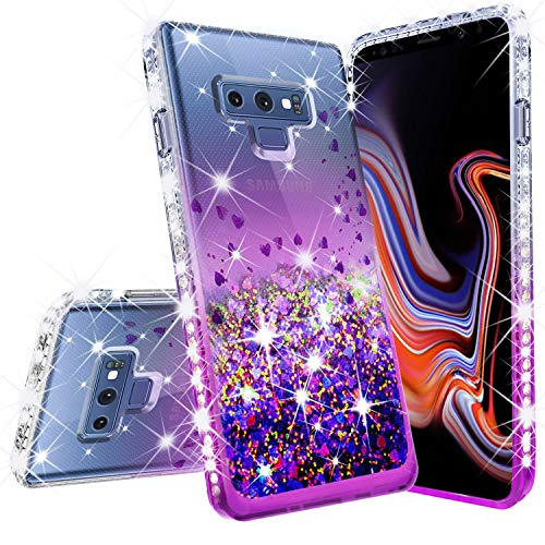 Galaxy Note 9 Case Liquid Glitter Bling [Tempered Glass Screen Protector] Cute Floating Quicksand Sparkle Shock Proof Protective Girls Women Compatible for Samsung Note 9 Phone Cases - Clear/Purple