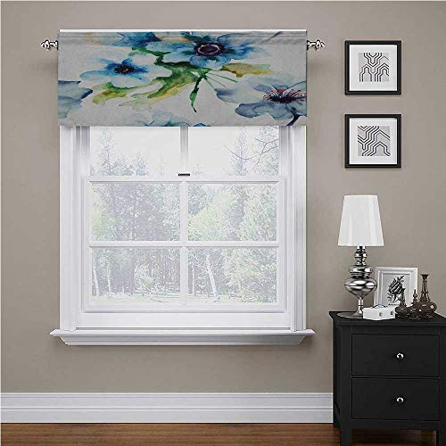 Youdeem-home Art Curtain Valance Summer Flowers Essence Growth Fragrance Petals Watercolor Bouquet Artistic Image Great Product Blue Forest Green 54