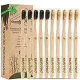 Bambus Zahnbürsten Holzzahnbürste für Erwachsene - 10er Pack Nachhaltige Zahnbürste Bambus, Plastikfrei, BPA Frei, Umweltfreundliche, Unabhängige Verpackung(5 Muster, 2 Farbborsten) Familien-Set