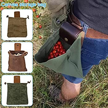 Shuliang Canvas Bushcraft Bag with Leather Cover & Buckle Foldable Heavy Duty Tool Pouch with Drawstring for Outdoors Camping
