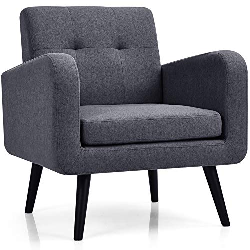 Giantex Modern Upholstered Accent Chair, Mid Century Armchair, w/Rubber Wood Legs, Linen Fabric Single Sofa for Living Room, Bedroom, Office (1, Grey)