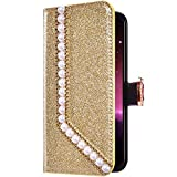 Uposao Samsung Galaxy A8 Plus 2018 Funda Libro con Tapa de Cuero, Purpurina Funda Diamante Glitter...