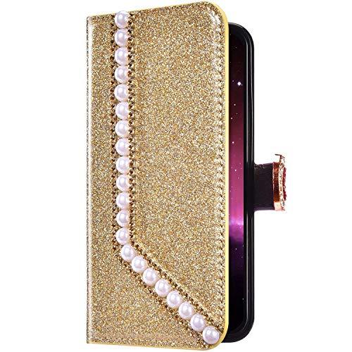 Uposao Samsung Galaxy A50 Funda Libro con Tapa de Cuero, Purpurina Funda Diamante Glitter Brillante Perlas Corazón Patrón Carcasa Billetera Tarjetero,Cierre Magnético,Soporte Flip Case,Oro