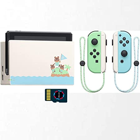 Nintendo Switch Console Animal Crossing - Tarjeta de memoria de 32 GB y tarjeta SD de 128 G, color verde y azul marino Joy-Con pantalla multitáctil de 1280 x 720 + tarjeta micro SD Delca de 16 GB