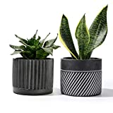 POTEY Cement Planter Flower Pot - 4.8 Inches Bonsai Containers Unglazed Medium for Indoor Plant with Drain Hole - Gray, Set of 2