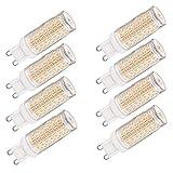 XXZ LED G9 Bulbo, 10W Equivalente a 100W Halógeno Bombillas, G9 Enchufe LED Lámpara, sin Parpadeo, Regulable, 1000LM, Paquete de 8,Warm White 3000k