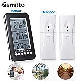 GEMITTO Termómetro de Interior y Exterior con 2 Sensor Inalámbrico Monitor de Digital Temperatura Ambiental con Función de Alarma y LCD Pantalla Medidor