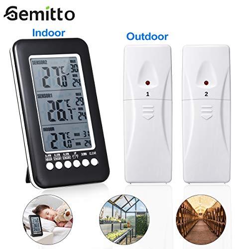 GEMITTO Thermometer Digitale Alarmfunktion mit 2 zusätzlichen Sensoren und Stand Hanging Loch , Inne Temperatur mit MIN/MAX Records für Raumklimakontrolle Raumluftüerwachtung