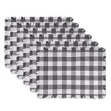 DII CAMZ37569 Heavyweight Fringed MT Check S/6, Placemat, Checkered Gray 6 Count