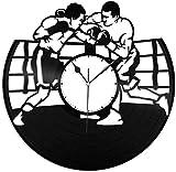 ZYBBYW Reloj de Pared de Vinilo de Boxeo-Reloj de Pared de Vinilo Retro decoración del hogar-No_Led_Light