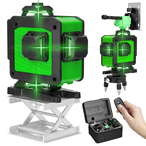 Kecheer Nivel laser 360 grados con tripode 16 Líneas,Niveles laser autonivelante rotativo verde,Nivelador laser con autonivelación