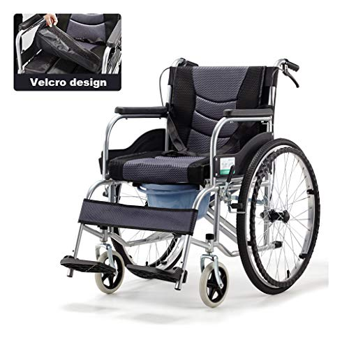 Cajolg Rollstuhl Faltbar,Abnehmbares Sitzkissen,Mit Töpfchen hohe tragfähigkeit Erwachsene Rollstühle,Rollator Faltbar Leichtgewicht,A