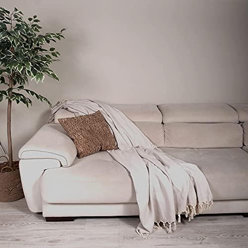 Milam London Premium 100prozent Baumwolle großer Überwurf für Sofa Doppelbett Sessel Sofa I Tagesdecke Decke 170x230 cm Hellgrau
