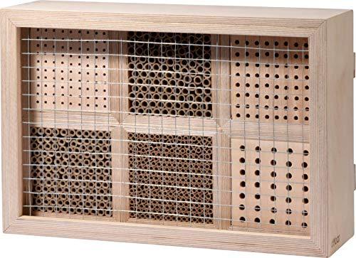 dobar 28410e Großes Profi-Insektenhotel, 6-teilige Nisthilfe für Wildbienen mit Schutzrahmen, 45 x 15 x 31 cm, Natur