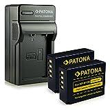 Patonaa - Pack de accesorios para cámaras digitales (4 en 1 cargador + 2 x baterías), color negro