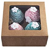 [15pcs]Kraft Paper Cupcake Boxes,Valentines Day Cookie Gift Boxes with Clear Window,Auto-Popup Cupcake Containers Carriers Bakery Cake Box with Insert 4 Cavity (Brown,15)