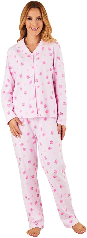 Slenderella PJ8113 Women's Pink Floral Pajama Long Sleeve Pyjama Set
