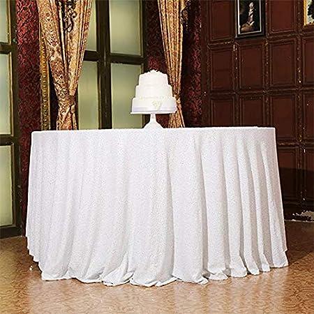 24in EXCORT Mantel Lentejuelas Blanco,Redondo,Fiesta Cumplea/ños Hoteles Banquetes Exteriores Fiestas Hogar Lentejuelas para Decoraci/ón De Bodas,Blanco,d:60cm