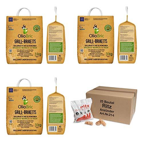 raumbox OlioBric 9kg Gourmet-Grill-Briketts | Oliventrester Grillkohle | nachhaltig | kein Rauch + 325 Ritz Bio Holzwolle Anzünder… (9)