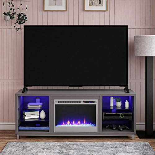 """Ameriwood Home Lumina Fireplace Stand for TVs, up to 70"""", Graphite Gray"""
