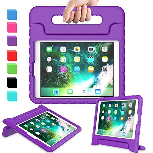 AVAWO Kids Case for New iPad 9.7 2017 & 2018 Release - Light Weight Shock Proof Convertible Handle Stand Friendly Kids Case for iPad 9.7-inch 2017 & 2018 Latest Gen (iPad 5th & 6th Gen) - Purple