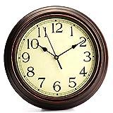 Aututer Reloj de Pared Decorativo Redondo de 12 Pulgadas Retro no Hace tictac Reloj de Pared Decorativo de Cuarzo  - AliExpress
