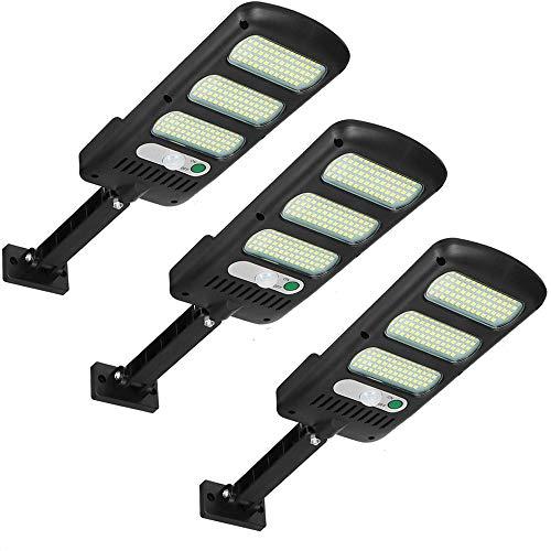 081 Store - 3 PEZZI Luci solari da esterno 213 LED Lampioni stradali ad energia solare Lampada da parete con sensore di movimento Luce di sicurezza impermeabile per esterno