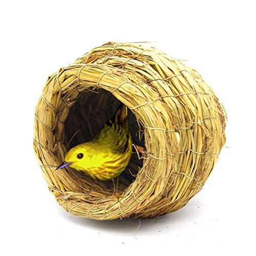 Liutao Nestkast, puur handgemaakte vogelnest, stro, materiaal, kweek, nest, vogelhuis, pioenrozen, papegaai, vogelnest, pompoen, nest, klein huis, duurzaam nestkastje