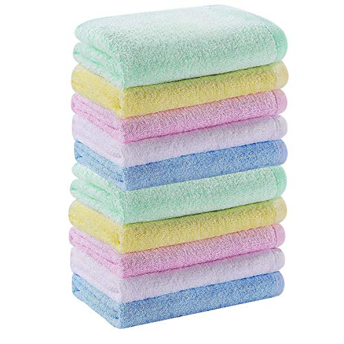 Multicolor Small Bamboo Washcloths Set 10 Pack for Newborn Baby Bath Hand Towel and Face Cloths or Bathroom-Kitchen Multi-Purpose Soft-Comfortable Absorbent Fingertip Towels 10'' x 10''