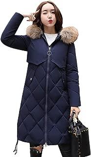Women Winter Down Long Hoodie Thicken Coat Solid Big Fur Collar Cotton Outerwear