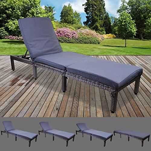 Marko Outdoor Dominican Rattan Sun Lounger Day Bed Recliner Garden Patio Furniture Outdoor Indoor Wicker (Grey)
