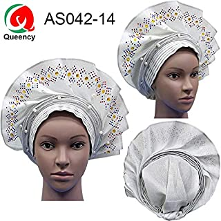 Lace Fabric African | As042 Fashional African Women Headwrap ASO Oke Auto Gele for ASO EBI African Headtie with Beads | by DOBTSore
