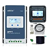EPEVER MPPT Charge Controller 40A 12V/24V Upgrade Tracer4210AN + Remote Meter MT50 Monitor + RTS for Solar Panel Charge Controller Regulator with LCD Display (Tracer4210AN + MT50+RTS)