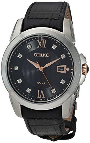 Seiko Men's Stainless Steel Japanese-Quartz Watch with Leather Calfskin Strap, Black, 21 (Model: SNE427)