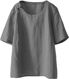 Mallimoda Damen Leinen Tunika Tops Sommer Kurzarm T-Shirt Große Größen Bluse Oberteile