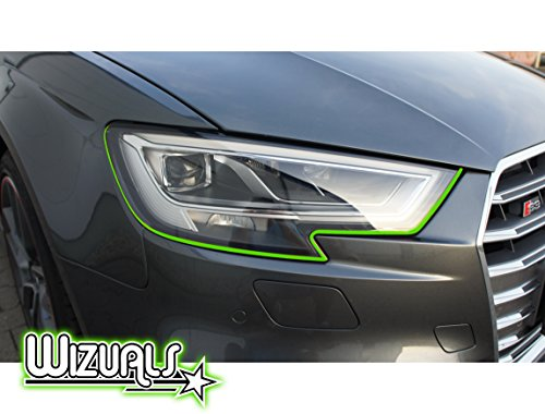 DEVIL STRIPES OGE EYE TEUFEL koplamp ORIGINELE WIZUALS + MIRROR strips SET, 6-delige folieset gemaakt van hoogwaardige folie, voor uw voertuig gat in groen