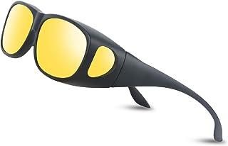 Occffy Polarized Night Driving Over Glasses Wrap Around Over Anti-Glare HD UV400 Night Vision Glasses for Men & Women Oc3308