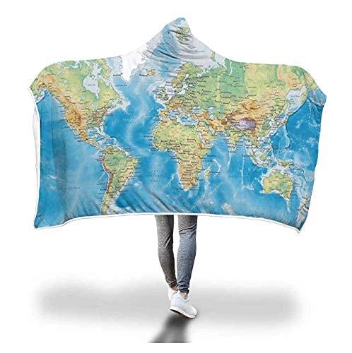Manta con capucha y diseño de mapa del mundo con diseño de cielo estrellado para usar en el sofá o en la gorra cálida de 127 x 101 cm