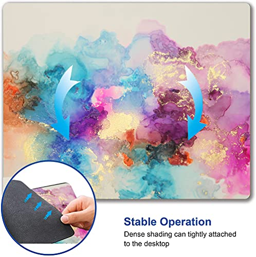 """Watercolor Pink Blue Gold Marble Mouse Pad, Colorful ATR Mouse Mat, Square Waterproof Mouse Pad Non-Slip Rubber Base MousePads for Office Home Laptop Travel, 9.5""""x7.9""""x0.12"""" Inch Photo #5"""