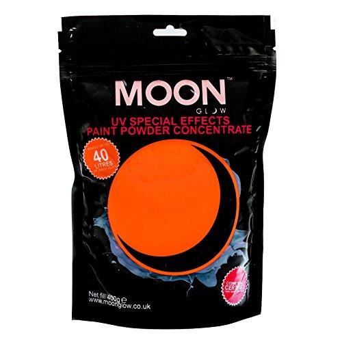 Moon Glow – Poudre pour peinture UV 400 g. Orange Peinture fluo en poudre concentrée pour les fêtes et les effets spéciaux. Pour fabriquer jusqu'à 40 litres de peinture