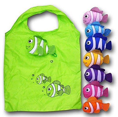 Anseahawk 10pcs Fish Shopping Bags Colorful Foldable Bag Handle Bag Bags Reusable Eco Tote Bags (Rndom Color Sent) by Anseahawk