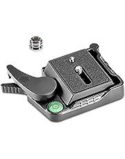 "Neewer® - Adaptador de Placa QR de liberación rápida de aleación de Aluminio Negro con Tornillo de 1/4""-3/8"" y Palanca de Burbujas para trípode de cámara DSLR con estabilizador de Cabeza de Bola"