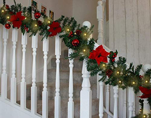 HomeZone 2.7m LED Battery Powered Red Christmas Decorative Garland Festive Decor Xmas Lighting Realistic Pine Garland Fireplace Stairway Wreath Home Decor
