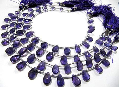 Shree_Narayani Amatista natural forma de gota de lágrima 6x9mm Briolette facetado perlas hebra 8 pulgadas de largo precios al por mayor joyería haciendo granos de piedra natalicia 1 hebra
