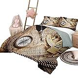 Juego de edredón con sábanas Compass Suave colcha de mezcla de algodón para todas las estaciones Navegación vintage Tema Voyage Imagen de estilo de vida con sextante y brújula Discovery Tools King Siz