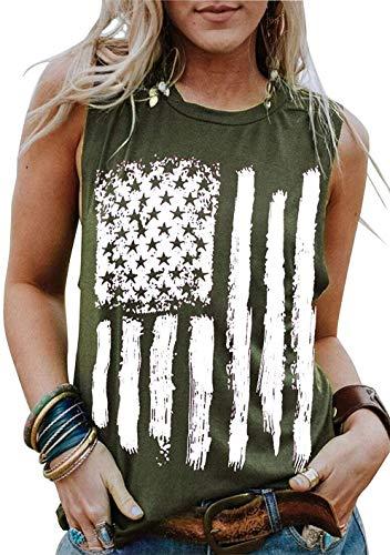 American Flag Tank Tops Women Patriotic Shirt USA Flag Sleeveless T-Shirt 4th of July Tee Tops (Green, Medium)
