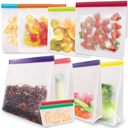 Reusable Sandwich Snacks Bags 10 Pack Reusable Ziplock Storage Bags Freezer Safe Extra Thick product image