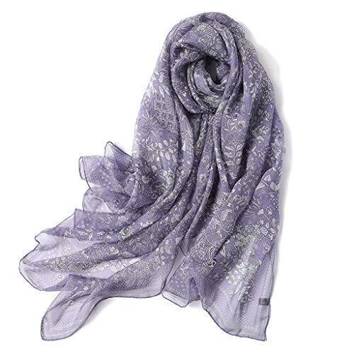 hkwshop Bufandas Chal Bufanda de Seda Sección Delgada Verano Morera Seda Protector Solar Mantón Toalla Bufanda de Playa Moda Bufandas (Color : Purple)