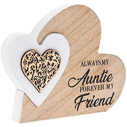 Laser Cut Woodcraft Mini Heart Plaque - Always My Auntie Forever My Friend