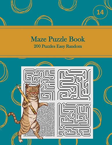 Maze Puzzle Book, 200 Puzzles Easy Random, 14: Pocket Sized Book, Tricky Logic Puzzles to Challenge Your Brain Large Print for Seniors, Adult, & Teens, Teal with Golden Circles